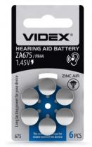 Батарейка Videx ZA 675 для слухових апаратів (за ШТ)