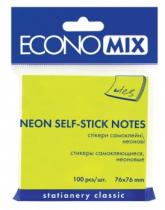 Стікери (блок 100 самоклейних папірців) 76X76, неонові салатові