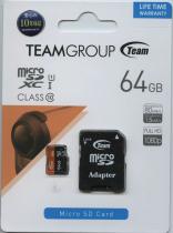 Карта пам'яті MicroSD 64Gb Team (class 10+SD адаптер)