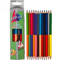 Олівці кольорові двосторонні в трекутному пеналі 12 кольорів MARCO (упак)