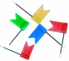 Кнопки- гвіздки з  прапорцем, 50шт в пласт коробочці