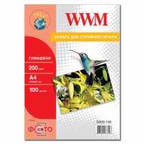 Фотопапір WWM A4 , 200 г/м кв , глянцевий , 100 арк. , (G200.100)