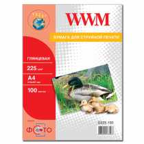 Фотопапір WWM A4 , 225 г/м кв , глянцевий , 100 арк. , (G225.100)
