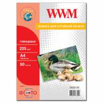 Фотопапір WWM A4 , 225 г/м кв , глянцевий , 50  арк. , (G225.50)