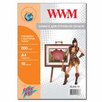 """Фотопапір WWM A4 , 200 г/м кв , глянцевий  з фактурою , """" Шкіра """" , 10 арк. , (GL200.10)"""