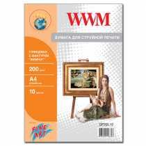 """Фотопапір WWM A4 , 200 г/м кв , глянцевий  з фактурою , """" Перлина """" , 10 арк. , (GP200.10)"""