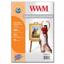 """Фотопапір WWM A4 , 200 г/м кв , глянцевий  з фактурою , """" Тканина """" , 10 арк. , (GC200.10)"""