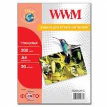 Фотопапір WWM A4 , 200 г/м кв , глянцевий , 20 арк. , (G200.20)