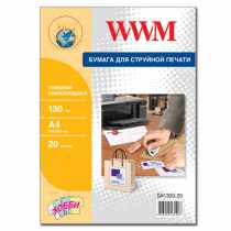 Папір глянцевий самоклейка (1) (210х297) , 20 арк. , WWM , білий , для струменевого друку , (SA130G.