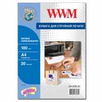Папір матовий самоклейка (1) (210х297) , 20 арк. , WWM , білий , для струменевого друку , (SA100M.20