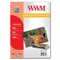 Фотопапір WWM A4 , 180 г/м кв , глянцевий , 100 арк. , (G180.100)