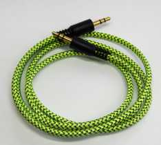 Аудіо кабель AUX (3,5/3.5) 1.0м шнурований кульок