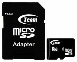 Карта пам'яті MicroSD 8Gb Team (class10 + SD адаптер)