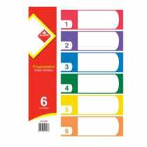 Розділювач пластиковий А4 кольоровий, 6 шт.KLERK