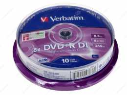 Диск DVD+R 8.5Gb Verbatim 8x, CakeBox 10, Dual Layer (за ШТ)