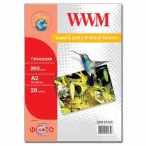 Фотопапір WWM A3 , 200 г/м кв , глянцевий , 20 арк. , (G200.A3.20/C)