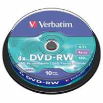 Диск DVD+RW 4,7Gb Verbatim 4x Cake box 10 (за ШТ)