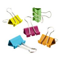 Біндери 19 мм, неонові кольори, в пластиковій драмі (за 40 шт.)