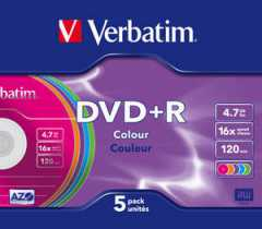 Диск DVD+R 4.7Gb Verbatim 16x, slim, color, 5pk (за ШТ)